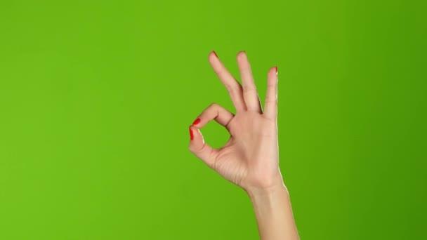 Jelnyelv. Lány kezét mutatja ujj gesztus rendben van, rendben