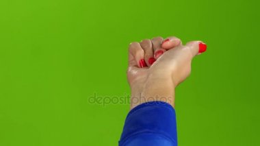 Gesture of the right hand come to me. Green screen