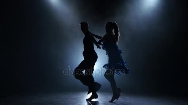 Professional couple of ballroom dancers posing in smoky studio, silhouette