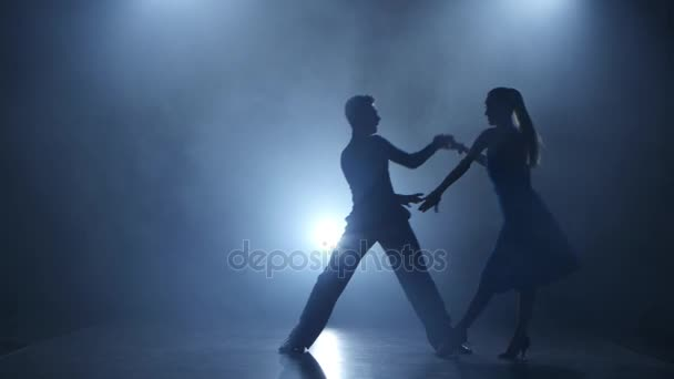 Dance tango performed by professional couple in smoky studio, silhouette