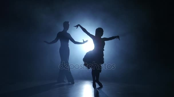 Emotional and graceful ballroom dance performed by champions, smoky studio