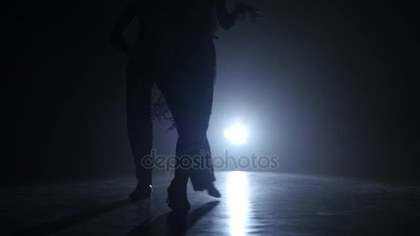 Dance couple demonstrating magnificent choreography of rumba, black background. Close-ups