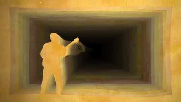 Computer graphics, musician plays guitar against background of paper tunnel