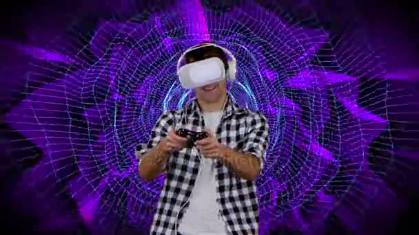 Hráč hraje na pozadí grafiky počítače virtuální realita brýle
