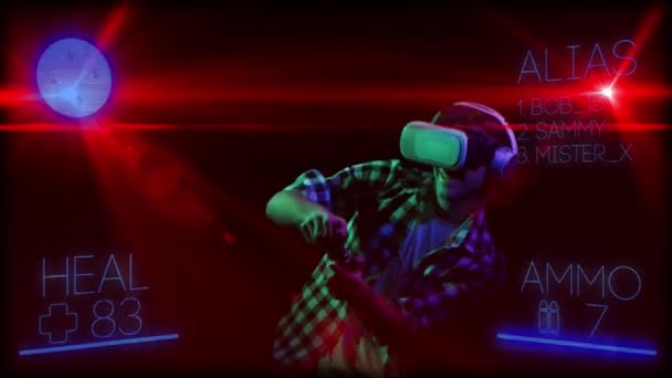 Man on background of computer graphics in virtual reality glasses man on background of computer graphics in virtual reality glasses stock video freerunsca Choice Image