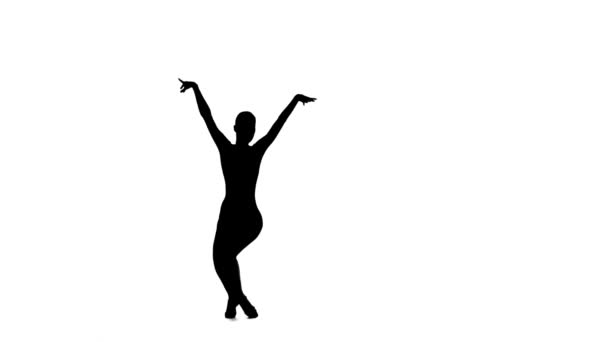 Žena sólo taneční prvky společenské tance. Černá silueta, studio