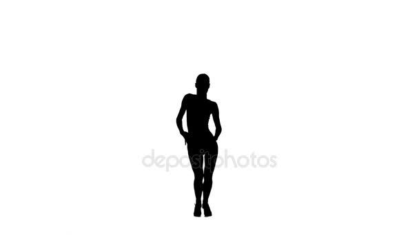 Štíhlá žena profesionální tanečnice taneční latino na bílém pozadí, silueta