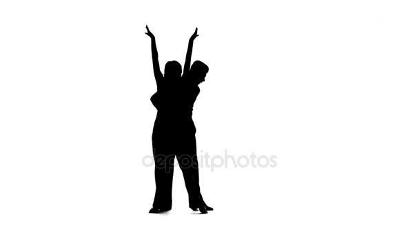 Silhouette pair professional dancers perform ballroom dance, white background studio