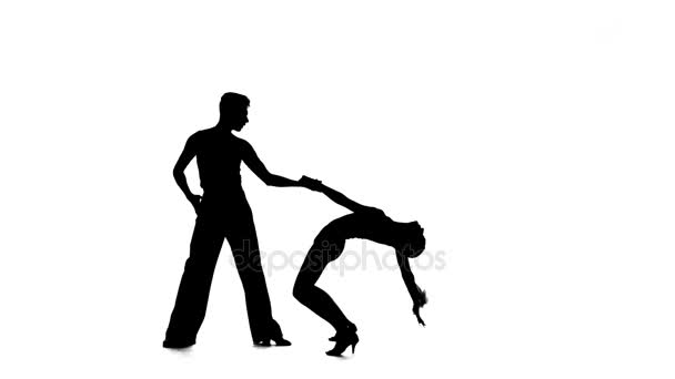 Rumba in perform silhouette couple professional dancers on white background