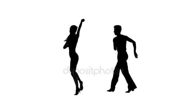 Salsa in perform silhouette couple professional dancers on white background