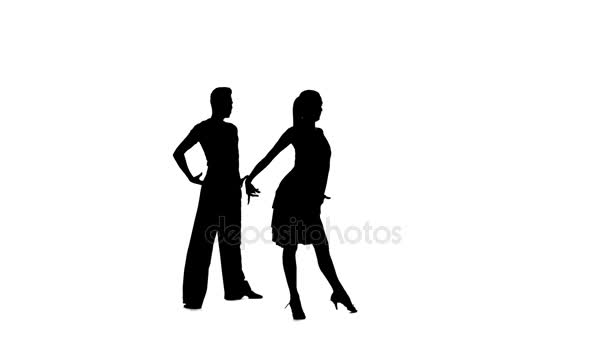 Couple silhouette professional dancing samba on white background, alpha channel