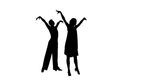 Couple silhouette professional dancing latino on white background, alpha channel