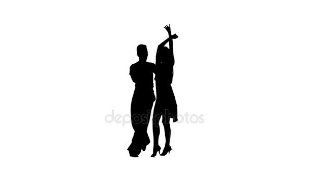 Pair silhouette professional dancing jive on white background, alpha channel