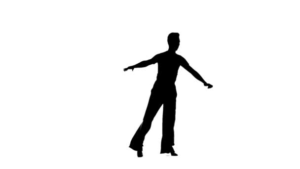 Dance element from the salsa program, silhouette on white background