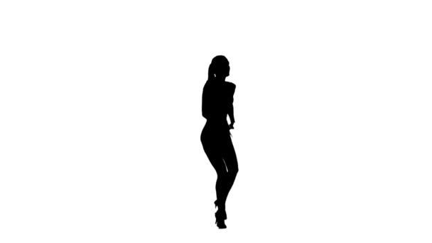 professionelle Tänzerin, die Latino tanzt, Zeitlupe. weißer Hintergrund, Silhouette