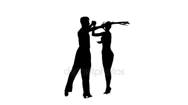 Silhouette couple professional dancers perform rumba. White background, slow motion