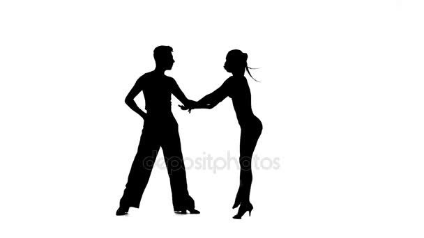 Dance element from rumba, silhouette pair. White background, slow motion