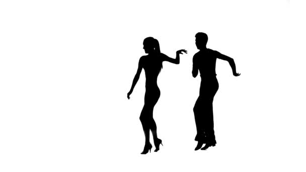 Dance element from salsa, silhouette pair. White background, slow motion