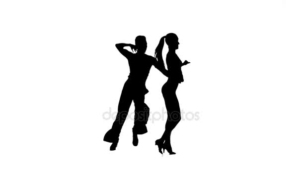 Rumba perform silhouette couple professional dancers. White background, slow motion
