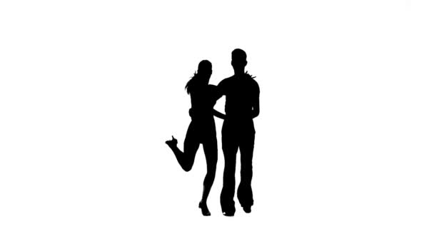 Samba perform silhouette couple professional dancers. White background, slow motion