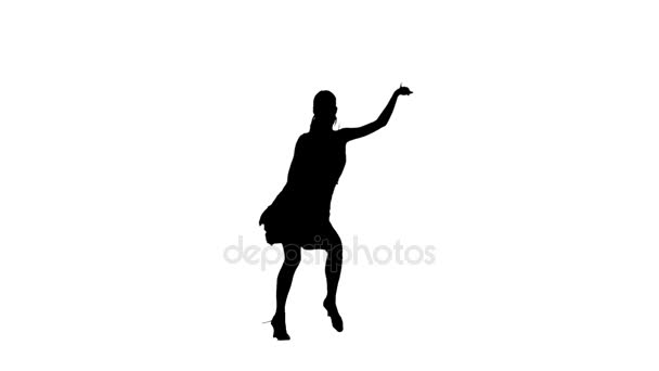 Silhouette of girl performing ballroom dance. White background, slow motion