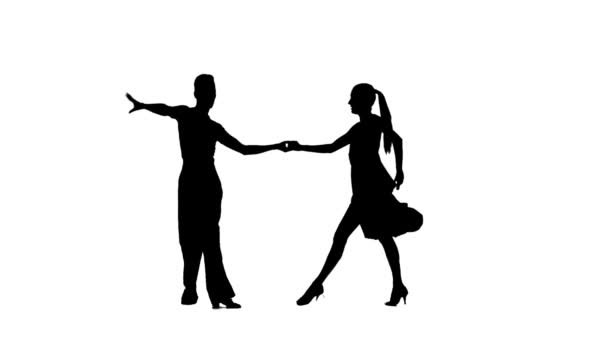 Pair silhouette professional dancing samba on white background. Slow motion