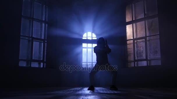 Licht en schaduw dans spelen in maanlicht silhouet slow motion