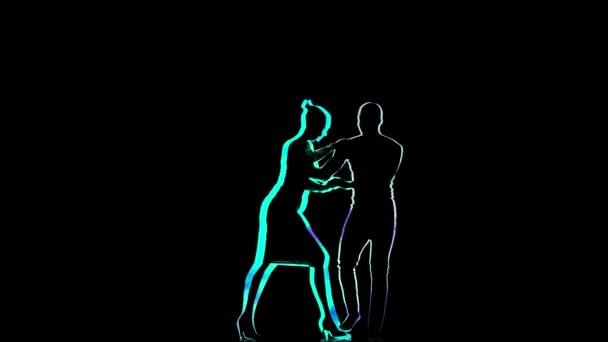 Computer graphics, couple of dancers perform Latin dance. Black background