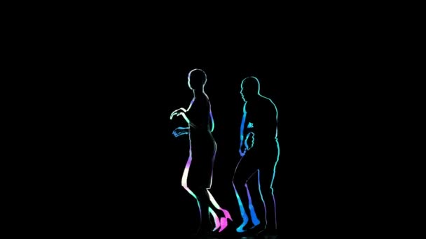Social dance performed by pair of dancers on black background
