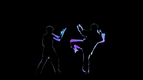 Computer graphics two man fight. Outline on black background