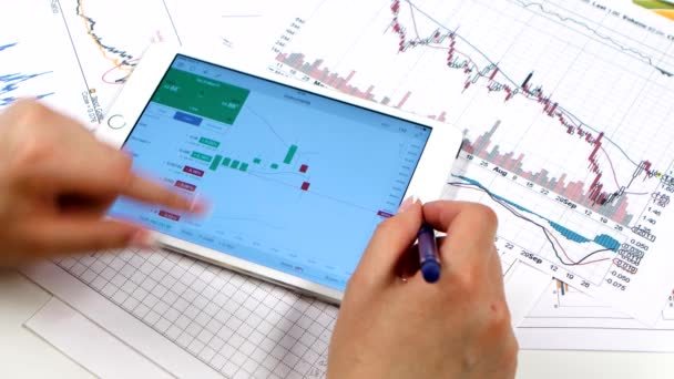 Trading, businesswoman working with tablet computer on online stock market