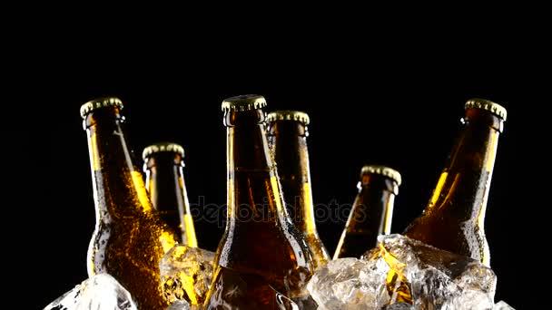 Flaschen dunkelkaltes Bier im Eis. schwarzer Hintergrund. Silhouette