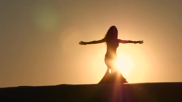 Professional dancer dances gracefully against the background of a hot sunset. Silhouette