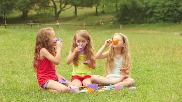 Mädchen spielen mit Spielzeug, trinken Tee und lächeln im Freien. Zeitlupe