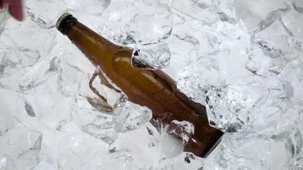 Láhev piva v ledu, vytáhne mans ruku. Bílé pozadí. Zpomalený pohyb