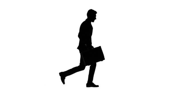 Ember elmegy dolgozni, tudomásul veszi, hogy késő, és kezdődik. Fehér háttér. Sziluettjét