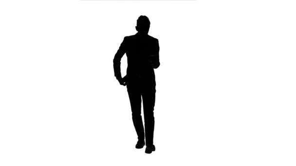 Geschäftsmann geht, Daumen ein Notebook und macht ein Selbstporträt. Weißen Hintergrund. Silhouette