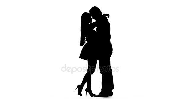 Liebespaar küsst sich. weißer Hintergrund. Silhouette