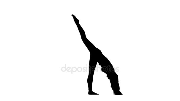 Žena se zabývá pilates. Bílé pozadí. Silueta