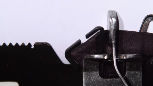 Vyhrazena autorská práva firmy pro psací stroj. Detailní záběr