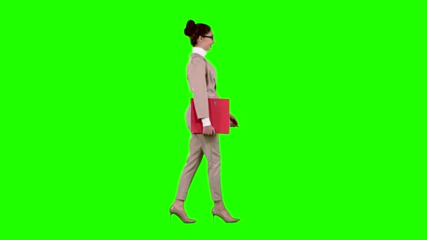 Businessman is going to a meeting with a red folder. Green screen. Side view