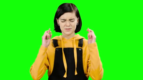 Teenager Crossed Her Fingers In The Hope Of Good Grades Green Screen
