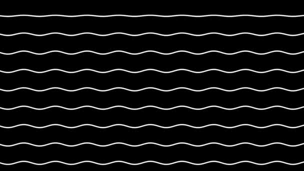 Animation of curves of wavy white lines rising up against a black background