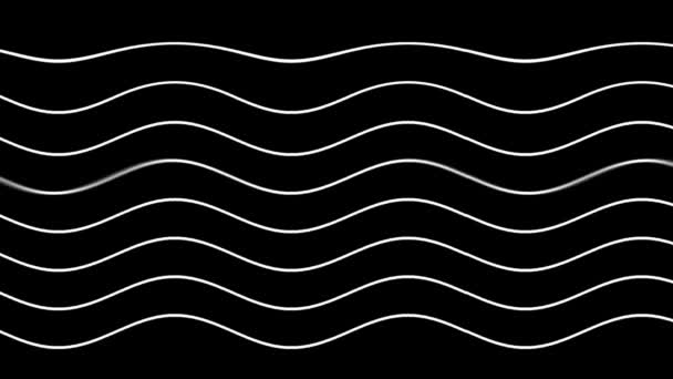 Bílá zakřivené čáry v dynamických vlnění na černém pozadí