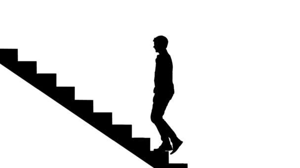 Silhouette Mann Treppensteigen auf weiß. Weg zum Endlos wiederholbar Erfolgskonzept. Karriereleiter