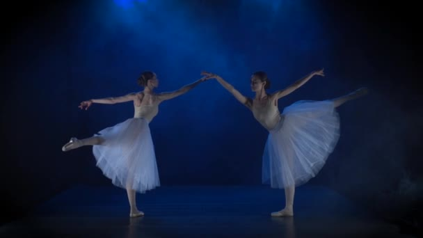 Two ballerinas in white tutu performing classical ballet. Slow motion.