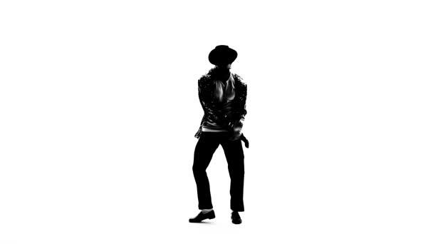 Silhouette egy fiatal férfi táncos tánc stílusban Michael Jackson fehér háttér.