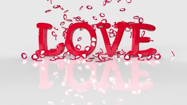 Inscription Love for Valentines Day na bílém pozadí. Srdce s animací 3d.