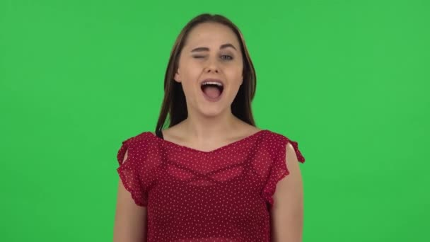 Portrait of tender girl in red dress is smiling broadly and winking. Green screen