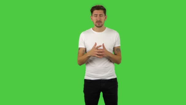 Confident guy is reporting and telling a lot of interesting information. Green screen
